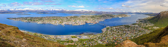 Panoramic view on Tromsø. View on Tromsoe from Floya mountain Stock Image