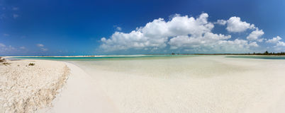 Panoramic view of tropical beach Royalty Free Stock Photo