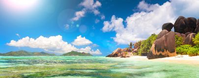 Panoramic view of a tropical island beach, Seychelles, Indian Ocean, web banner Stock Image