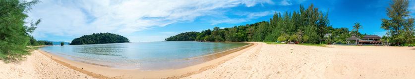 Panoramic view of tropical sandy beach and sea landscape Royalty Free Stock Photos