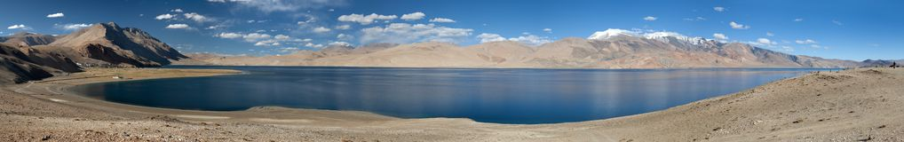 Panoramic view of Tso Moriri lake Royalty Free Stock Images