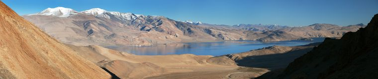 Panoramic view of Tso Moriri lake Stock Images
