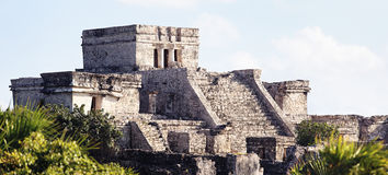 Panoramic view of Tulum ruins. Panoramic view of famous archaeological ruins of Tulum stock photo