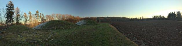 Panoramic view of Tumulus and field near Landersdorf, Bavaria.  Royalty Free Stock Images