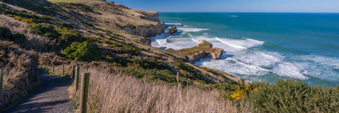 Panoramic View of the Tunnel Beach, Dunedin. Royalty Free Stock Images