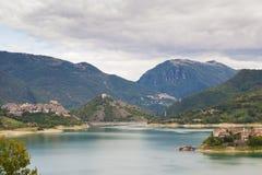 Panoramic view of Turano lake Royalty Free Stock Photos