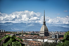 Panoramic view of Turin city center, in Italy Royalty Free Stock Image