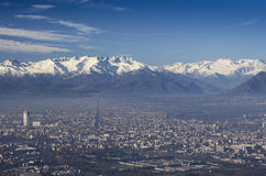 Panoramic View of Turin City Stock Photo