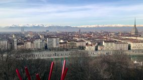 Panoramic view of Turin, Italy stock video footage