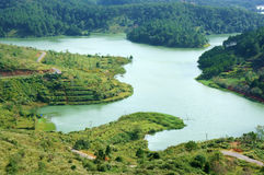 Panoramic view of Tuyen Lam lake with pine forest Royalty Free Stock Image