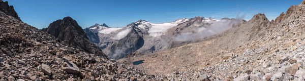 Panoramic view of two glaciers Stock Images