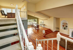 Panoramic view of two levels dining room Stock Images