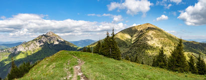 Panoramic view of two typical hills from Little Fatra hills Royalty Free Stock Image