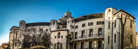 Panoramic view of typical architectural in Beyoglu district of Istanbul, Turkey. Panoramic view of historical building in Beyoglu district of Istanbul, Turkey royalty free stock photography