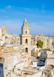 Panoramic view of typical church of Matera UNESCO European Capital of Culture 2019 under blue sky Royalty Free Stock Photos