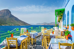 Panoramic view on typical Greek restaurant, Greece Royalty Free Stock Photos