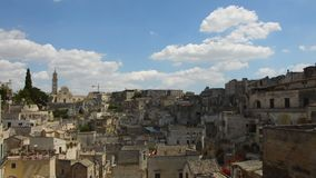 Panoramic view of typical Matera stones Sassi di Matera. Matera in Italy is UNESCO World Heritage Site and European Capital of C. Ulture 2019 stock footage