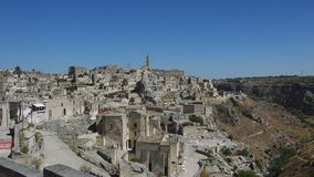 Panoramic view of typical Matera stones Sassi di Matera. Matera in Italy is UNESCO World Heritage Site and European Capital of C stock footage