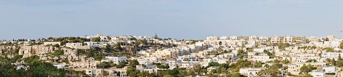 Panoramic view of typical private buildings of Malta Island. Scenic Panoramic view of typical private buildings of Malta Island. Region of Mellieha, Malta Stock Photos