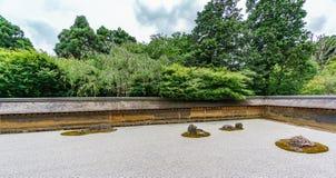 Sober Japanese garden. Panoramic view of typical sober Japanese garden Stock Photo