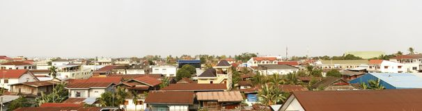 Panoramic view of a typical southeast asian town. With temples and iron roofs, Laos, Southeast Asia Stock Photos