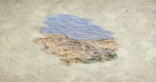 Panoramic view of typical stones Sassi di Matera and church of Matera under blue sky, draw with colour pencils stock footage