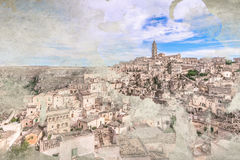 Panoramic view of typical stones Sassi di Matera and church of Matera under blue sky Royalty Free Stock Photos