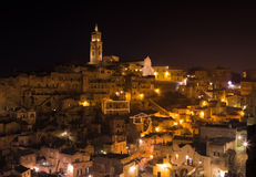 Panoramic view of typical stones (Sassi di Matera) and church of Matera UNESCO European Capital of Culture 2019 Royalty Free Stock Photo