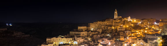 Panoramic view of typical stones (Sassi di Matera) and church of Matera UNESCO European Capital of Culture 2019 Stock Image