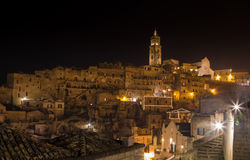 Panoramic view of typical stones (Sassi di Matera) and church of Matera UNESCO European Capital of Culture 2019 Stock Photography