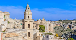 Panoramic view of typical stones (Sassi di Matera) and church of Matera UNESCO Stock Photo