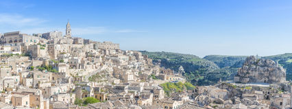 Panoramic view of typical stones (Sassi di Matera) and church of Matera UNESCO European Capital of Culture Stock Photography