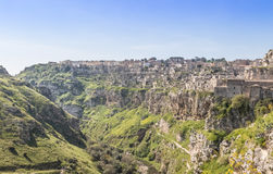 Panoramic view of typical stones Sassi di Matera and church of Matera UNESCO European Capital of Culture 2019 Stock Photo