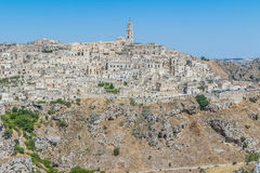panoramic view of typical stones Sassi di Matera and church of Matera UNESCO European Capital of Culture 2019 Royalty Free Stock Photo
