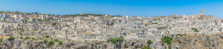 panoramic view of typical stones Sassi di Matera and church of Matera UNESCO European Capital of Culture 2019 Royalty Free Stock Image