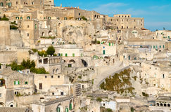 Panoramic view of typical stones (Sassi di Matera) of Matera Stock Photography