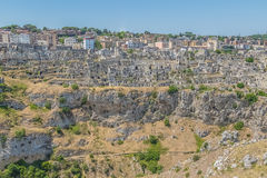 Panoramic view of typical stones Sassi di Matera of Matera UNESCO European Capital of Culture 2019 under blue sky. Basilicata Royalty Free Stock Image