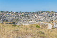 Panoramic view of typical stones Sassi di Matera of Matera UNESCO European Capital of Culture 2019 under blue sky. Basilicata Stock Photography