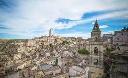 Panoramic view of typical stones (Sassi di Matera) and church of Matera Stock Photo