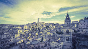 Panoramic view of typical stones (Sassi di Matera) and church of Stock Image