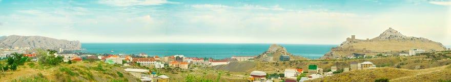 Panoramic view of Ukrainian city Sydak Stock Image