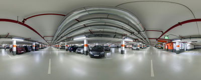 Panoramic view of underground parking Royalty Free Stock Photography