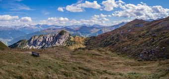 Panoramic view underneath in the tyrolian alps stock photo