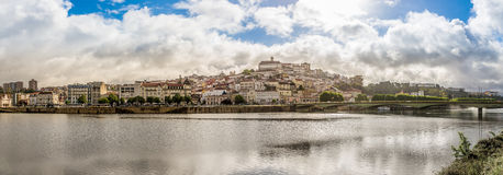Panoramic view at the university city Coimbra with river Mondego - Portugal stock image
