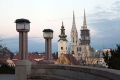 Panoramic view from the Upper Town towards Zagreb cathedral Royalty Free Stock Photography