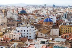 Panoramic view of urban landscape in the city of Valencia, Spain, Europe Royalty Free Stock Photo