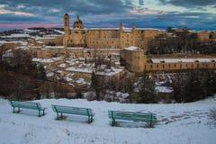 Panoramic view of Urbino at winter sunset, Unesco site stock photography