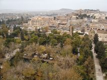 Panoramic view of Urfa with gardens around Pool of Sacred Fish in the foreground stock photography