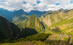 Panoramic view of Urubamba Valley from Machu Picchu, Peru Stock Photography