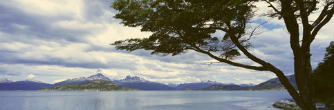 Panoramic view of Ushuaia, Tierra del Fuego National Park and Andes Mountains, Argentina Stock Images